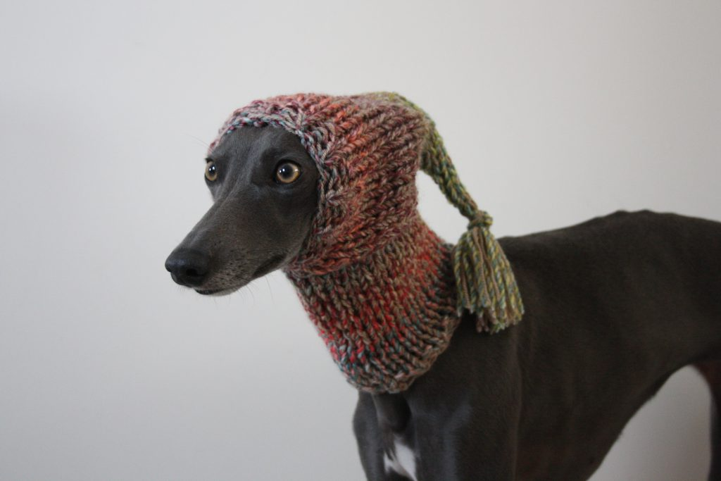 Whippet Pink Knit Tassel Hat Greyhound Italian Greyhound