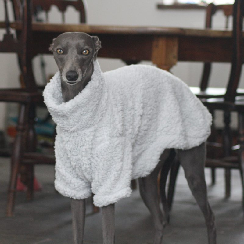 Grey Fluffy Fleece Jumper Whippet Greyhound Italian Sighthound