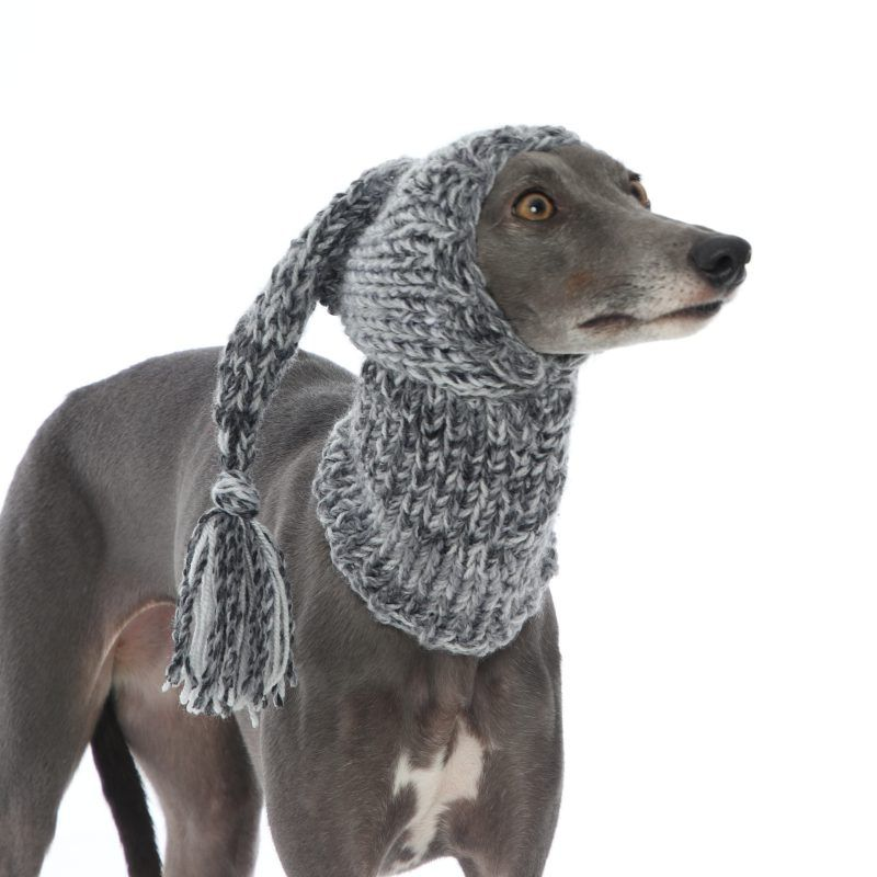 Whippet Grey Knit Hat Greyhound Lurcher Italian Sighthound