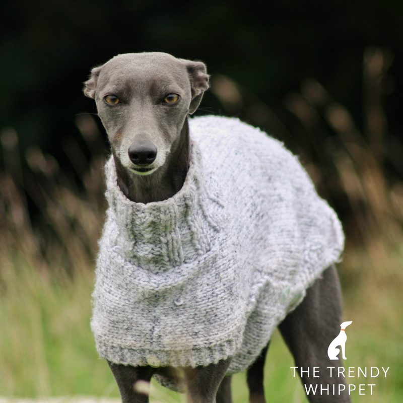 Hand Knitted Chunky Grey Sweater Jumper Whippet Greyhound