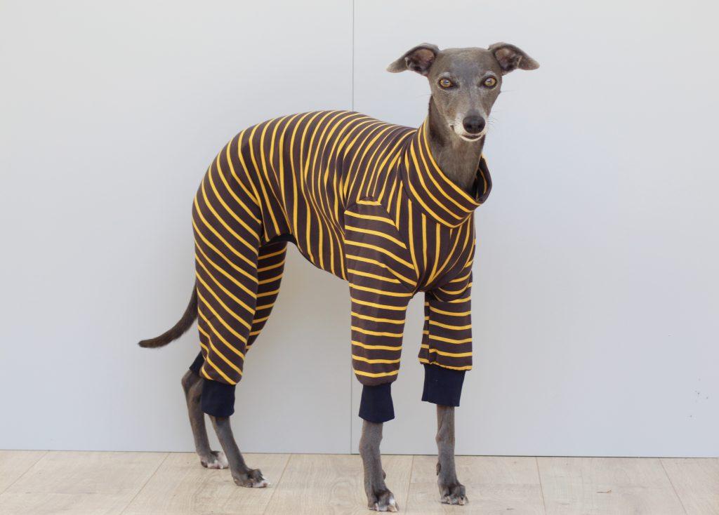 Grey And Yellow Stripe Cuff Onesie Whippet Greyhound